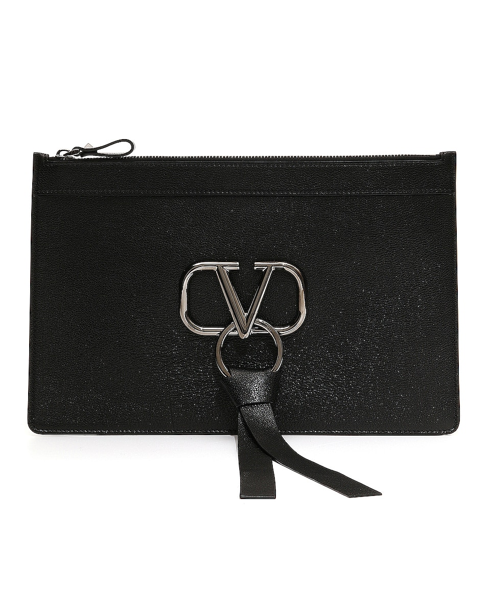 Image 1 of Valentino Large VRing Flat Pouch in Black
