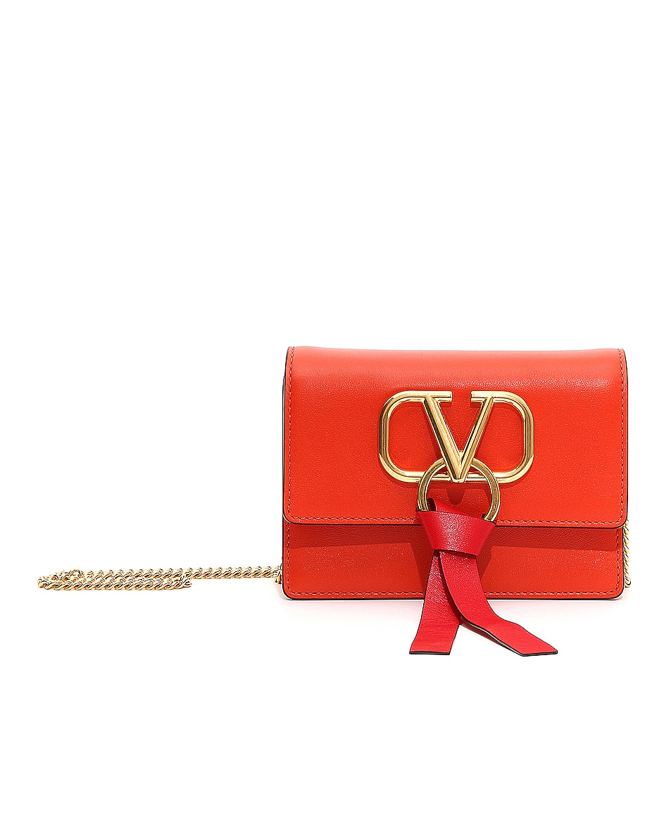 Image 1 of Valentino V Ring Pouch in Goldfish & Rouge Pur