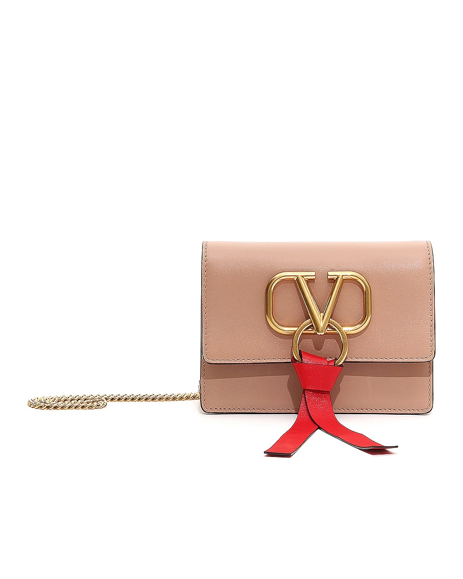 Image 1 of Valentino Garavani VRing Pouch in Rose Cannelle & Rouge Pur