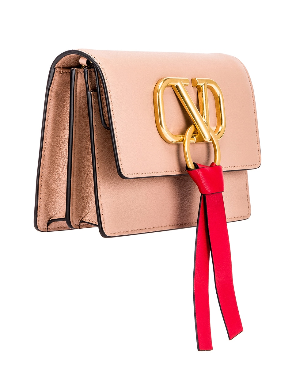 Image 3 of Valentino VRing Pouch in Rose Cannelle & Rouge Pur