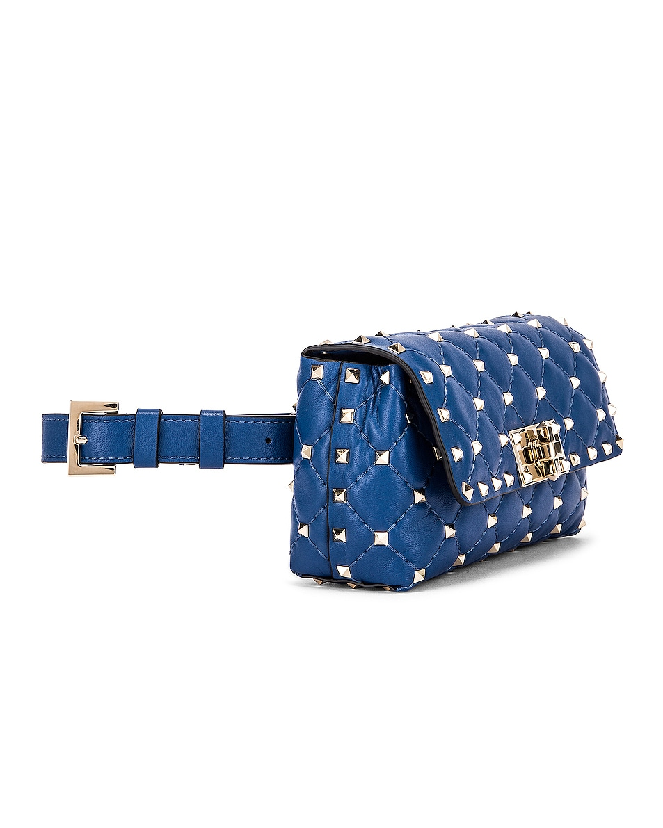 Image 3 of Valentino Rockstud Spike Belt Bag in Baltique