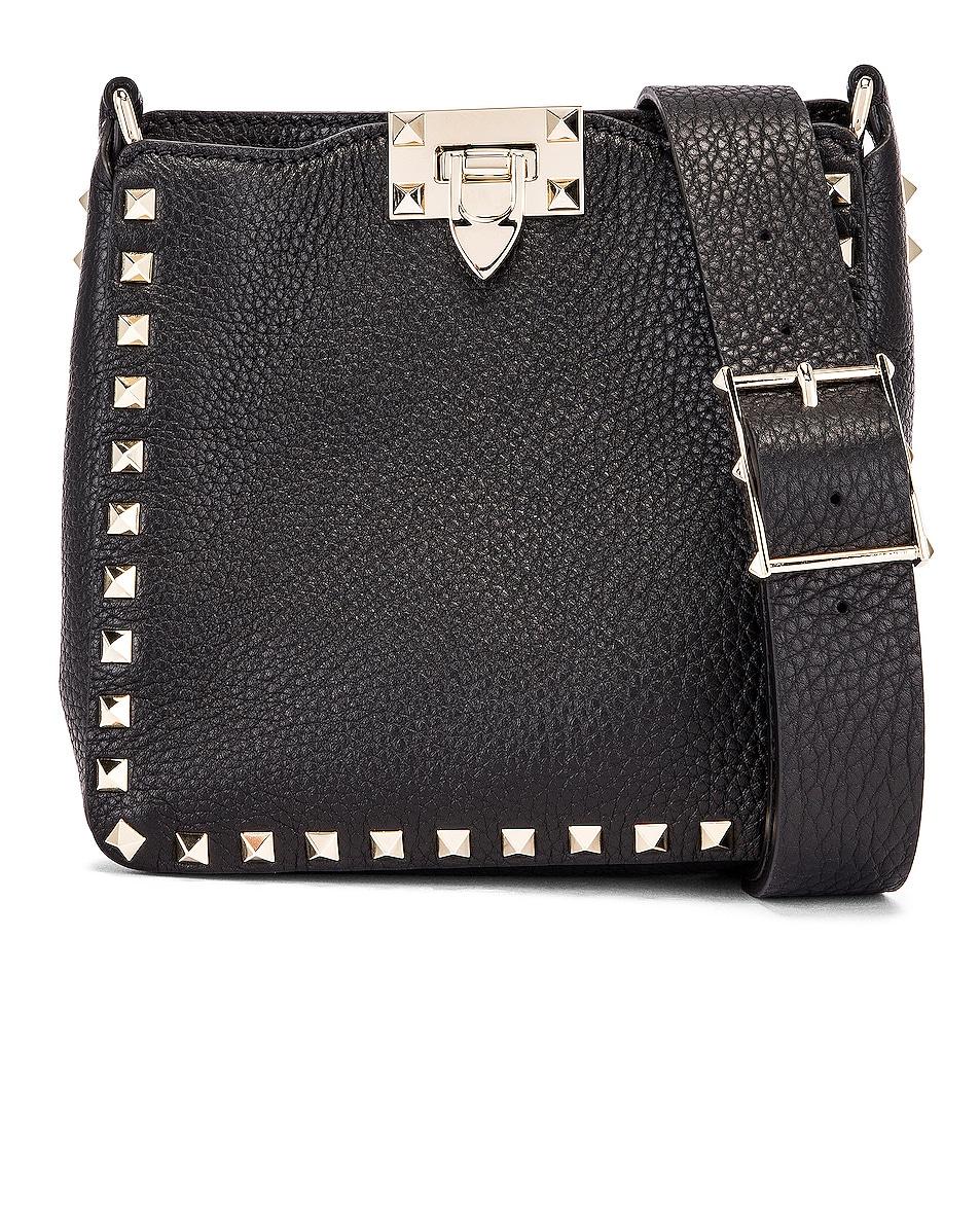 Image 1 of Valentino Garavani Rockstud Messenger Bag in Black