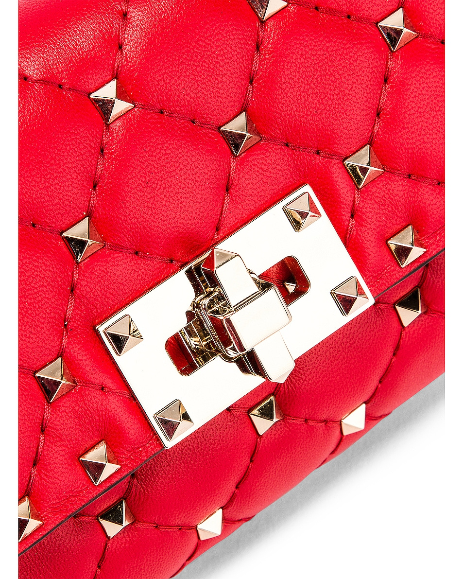 Image 6 of Valentino Rockstud Spike Belt Bag in Red