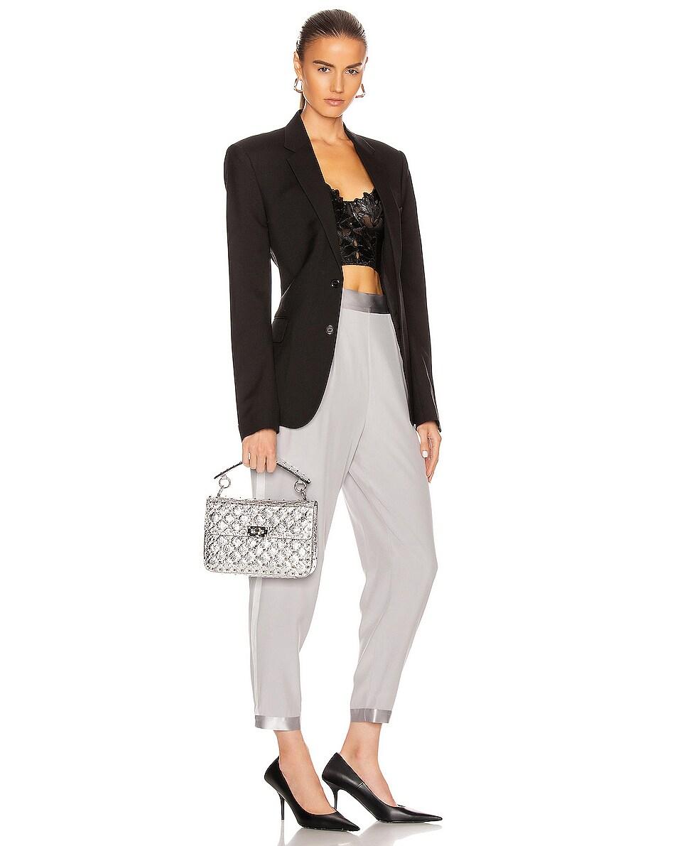 Image 2 of Valentino Rockstud Spike Medium Shoulder Bag in Silver & Pastel Grey