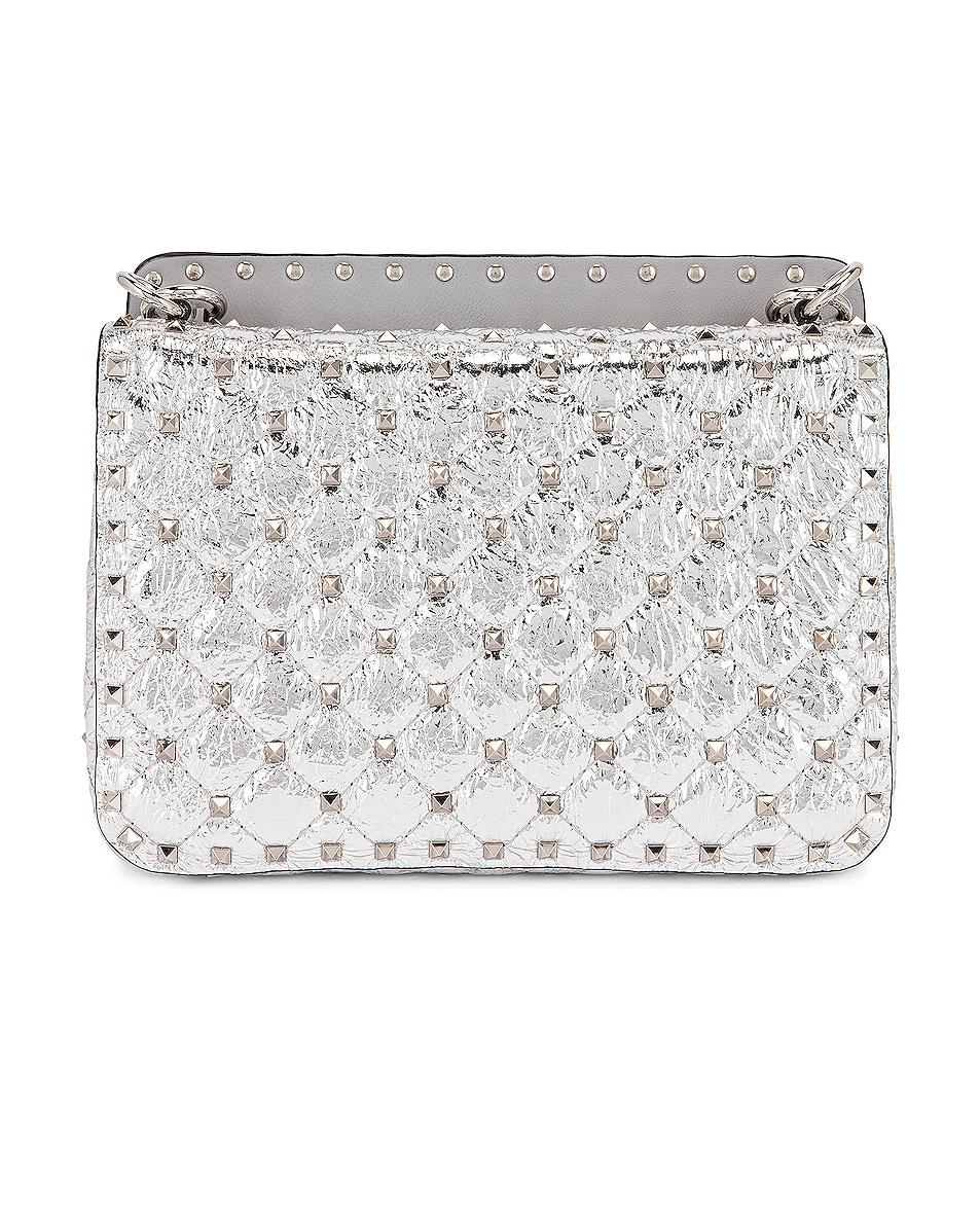 Image 3 of Valentino Rockstud Spike Medium Shoulder Bag in Silver & Pastel Grey