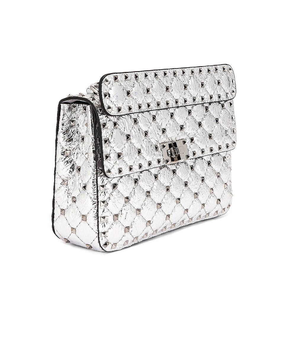Image 4 of Valentino Rockstud Spike Medium Shoulder Bag in Silver & Pastel Grey