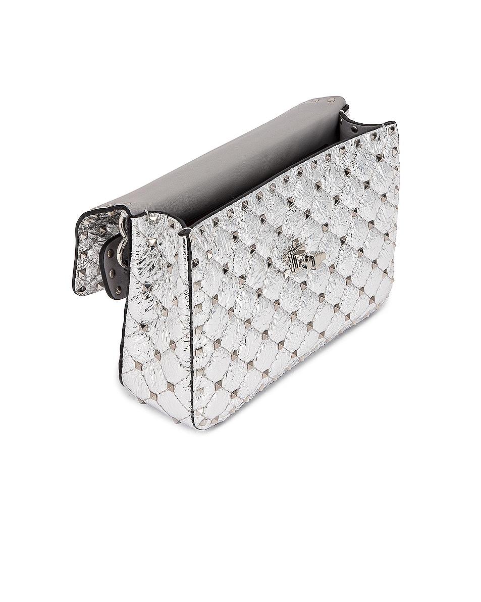 Image 5 of Valentino Rockstud Spike Medium Shoulder Bag in Silver & Pastel Grey