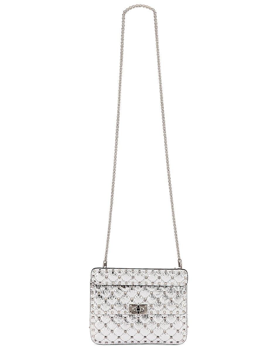 Image 6 of Valentino Rockstud Spike Medium Shoulder Bag in Silver & Pastel Grey