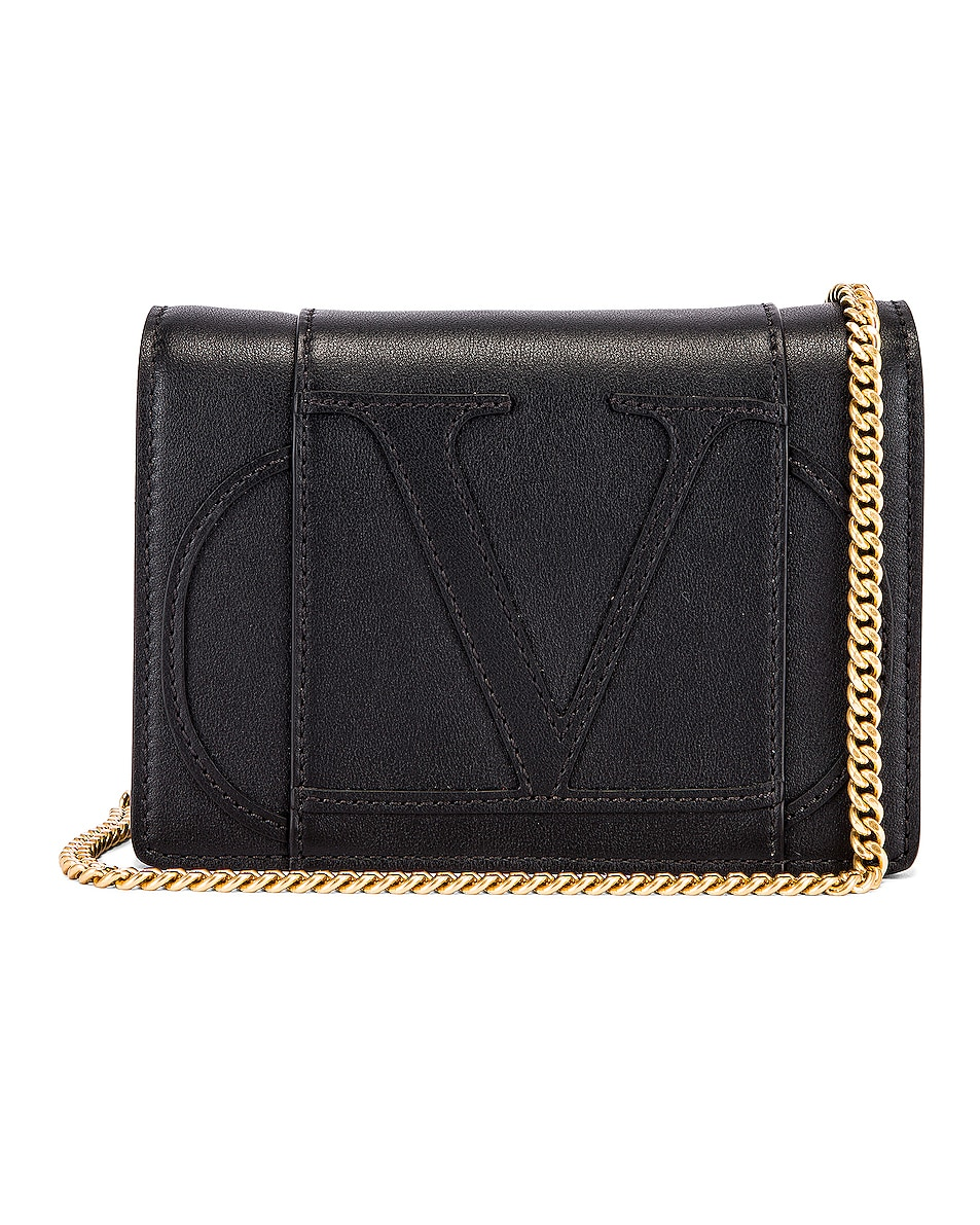 Image 1 of Valentino V Logo Crossbody Bag in Black