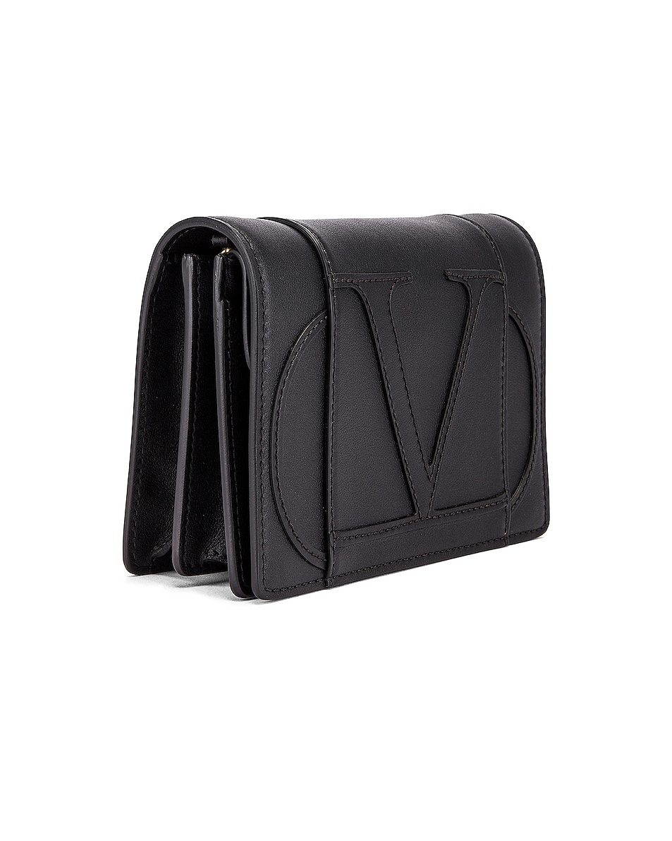 Image 4 of Valentino V Logo Crossbody Bag in Black