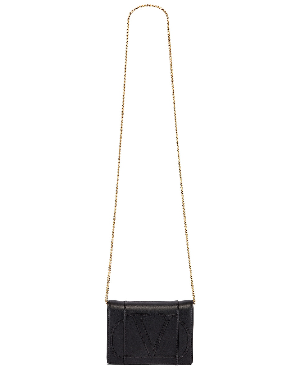 Image 6 of Valentino V Logo Crossbody Bag in Black