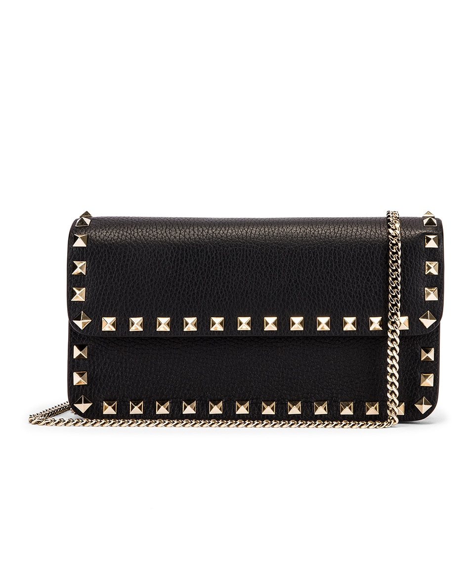 Image 1 of Valentino Rockstud Flap Crossbody Bag in Black