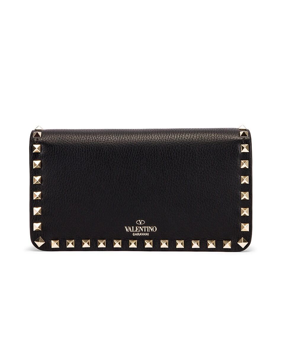 Image 3 of Valentino Rockstud Flap Crossbody Bag in Black