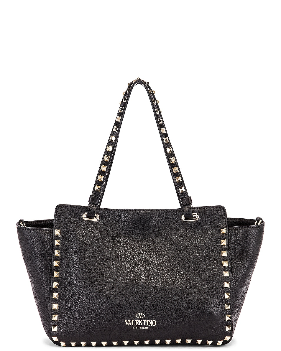 Image 3 of Valentino Small Rockstud Tote in Black