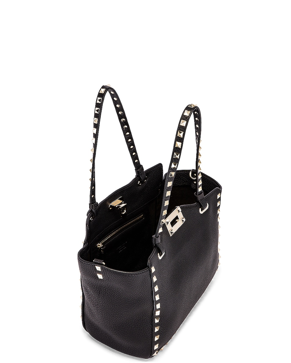 Image 5 of Valentino Small Rockstud Tote in Black