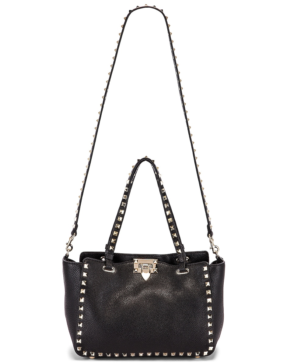 Image 6 of Valentino Small Rockstud Tote in Black