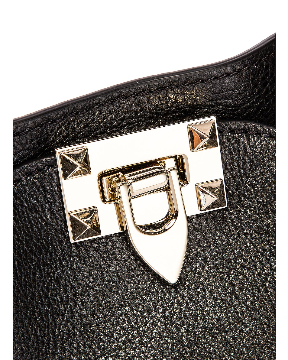 Image 8 of Valentino Small Rockstud Tote in Black