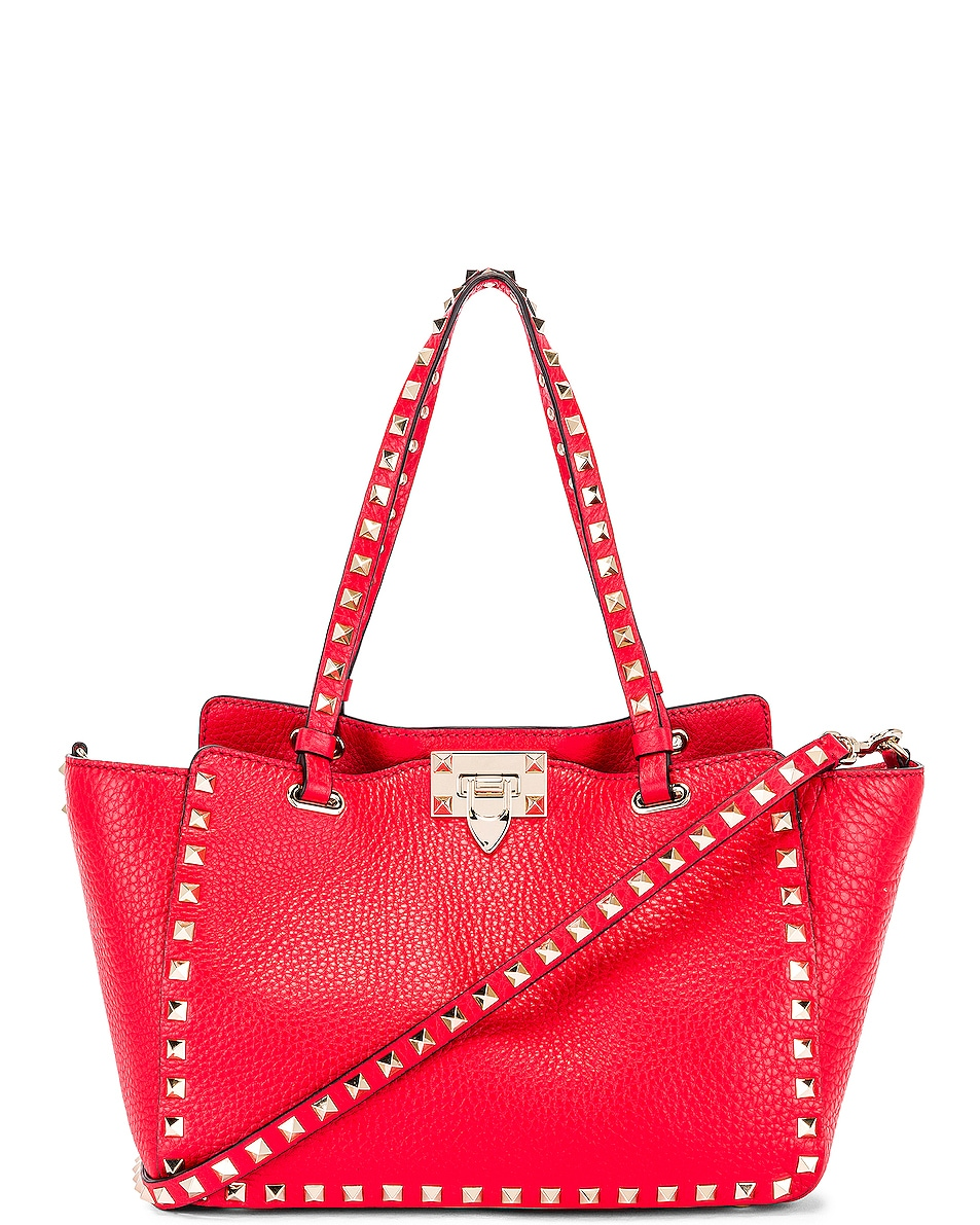 Image 1 of Valentino Small Rockstud Tote in Red