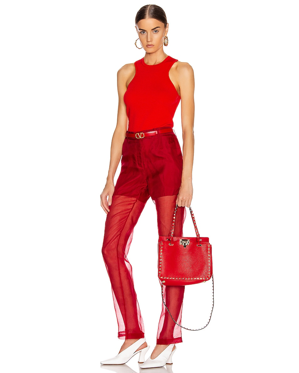 Image 2 of Valentino Small Rockstud Tote in Red