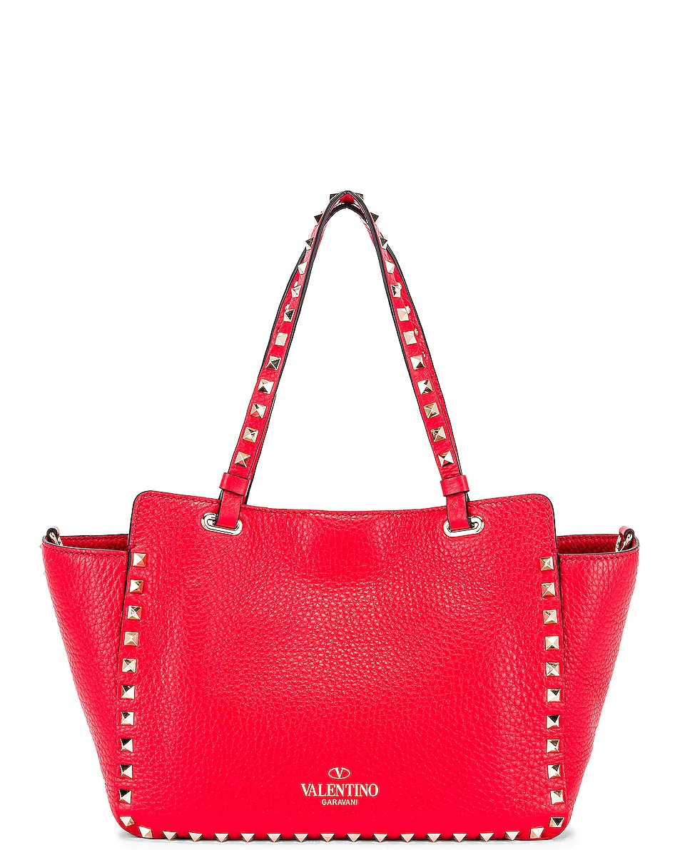 Image 3 of Valentino Small Rockstud Tote in Red