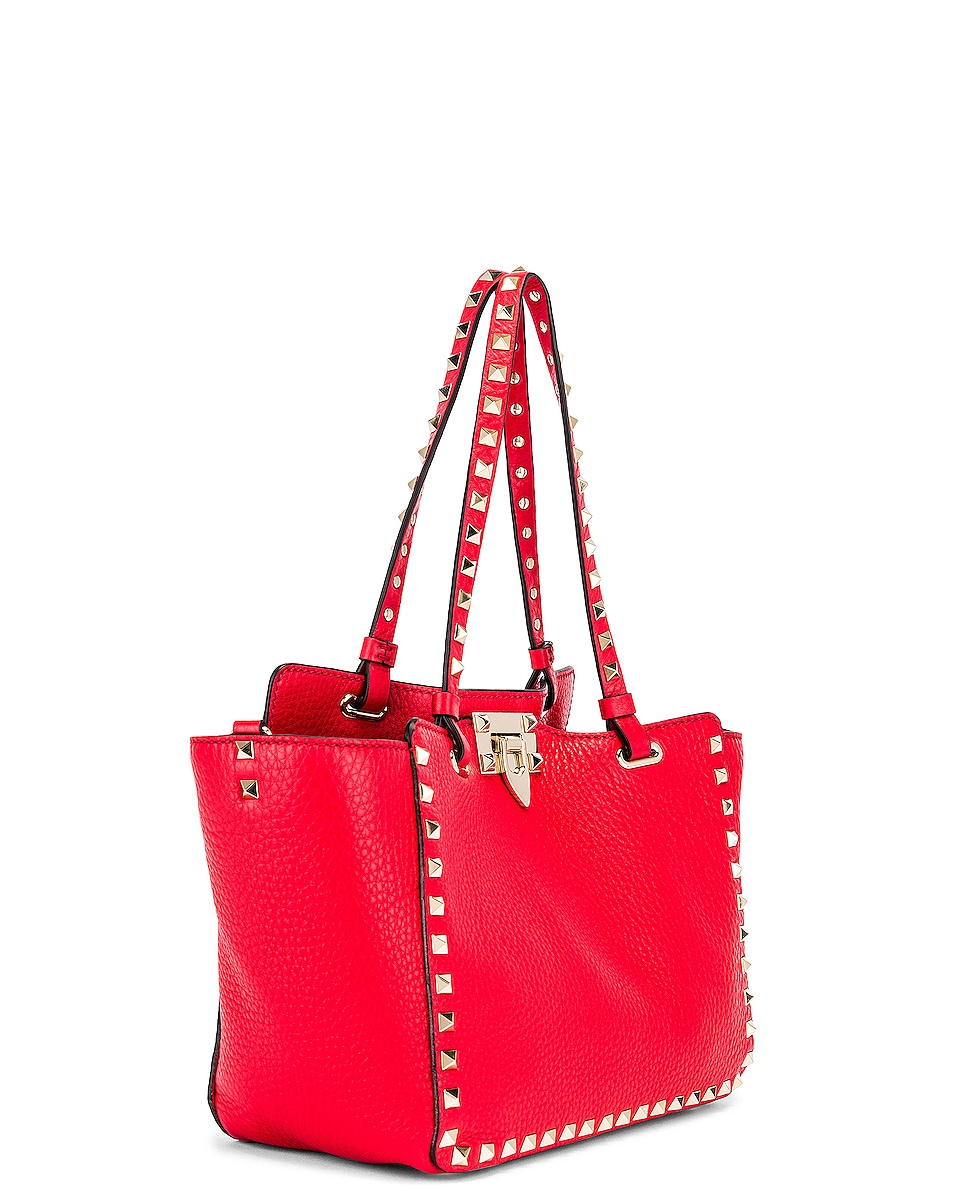 Image 4 of Valentino Small Rockstud Tote in Red