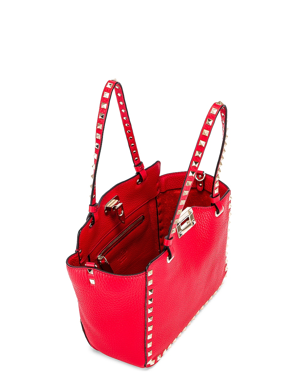 Image 5 of Valentino Small Rockstud Tote in Red