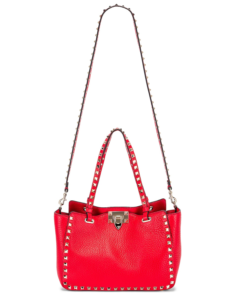Image 6 of Valentino Small Rockstud Tote in Red