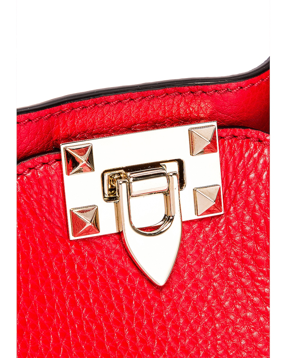 Image 8 of Valentino Small Rockstud Tote in Red
