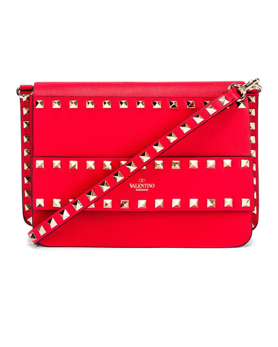 Image 1 of Valentino Rockstud Crossbody Camera Bag in Red