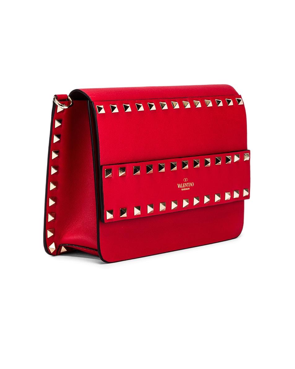Image 4 of Valentino Rockstud Crossbody Camera Bag in Red