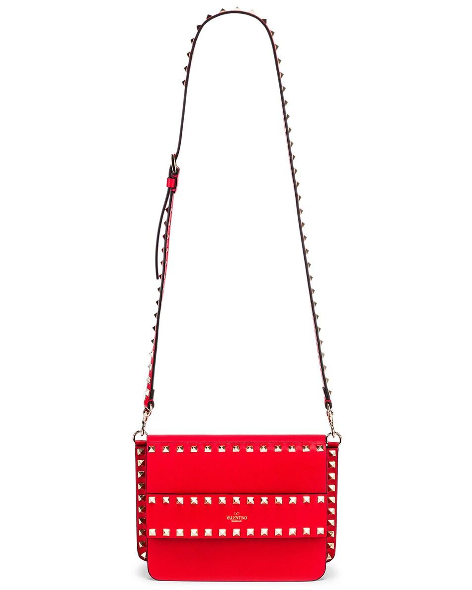 Image 6 of Valentino Rockstud Crossbody Camera Bag in Red
