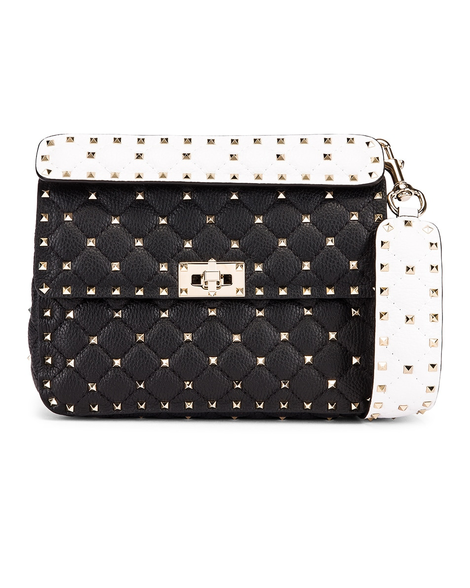Image 1 of Valentino Rockstud Spike Crossbody Bag in Black & Red & White