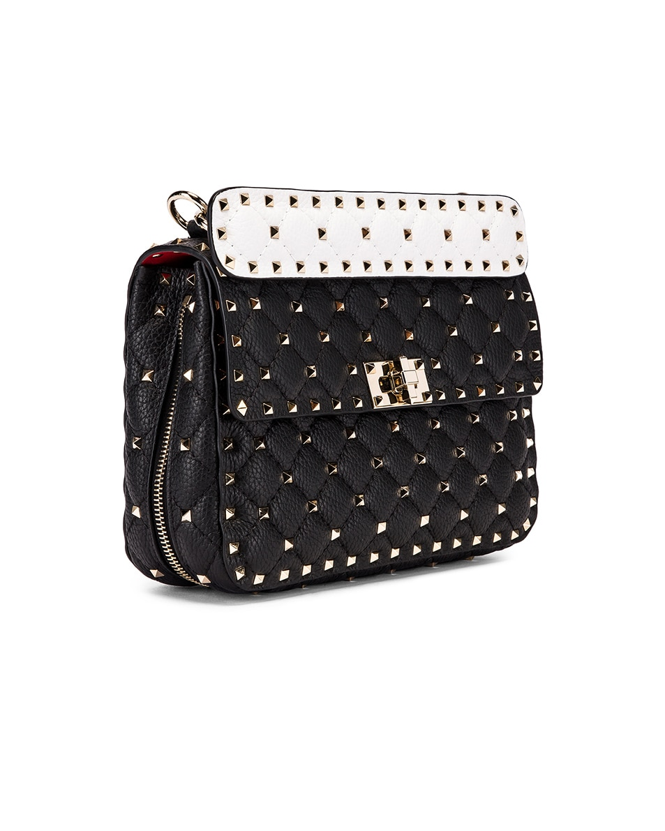 Image 4 of Valentino Rockstud Spike Crossbody Bag in Black & Red & White