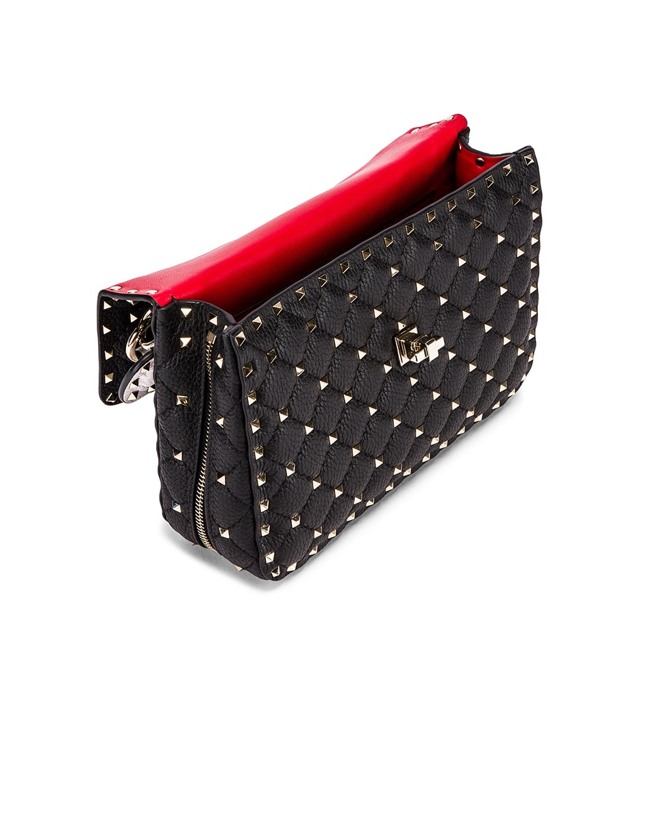 Image 5 of Valentino Rockstud Spike Crossbody Bag in Black & Red & White