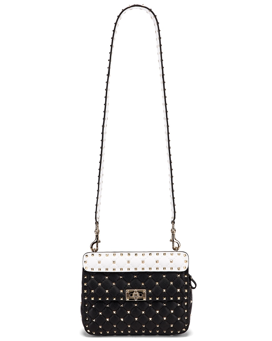 Image 6 of Valentino Rockstud Spike Crossbody Bag in Black & Red & White
