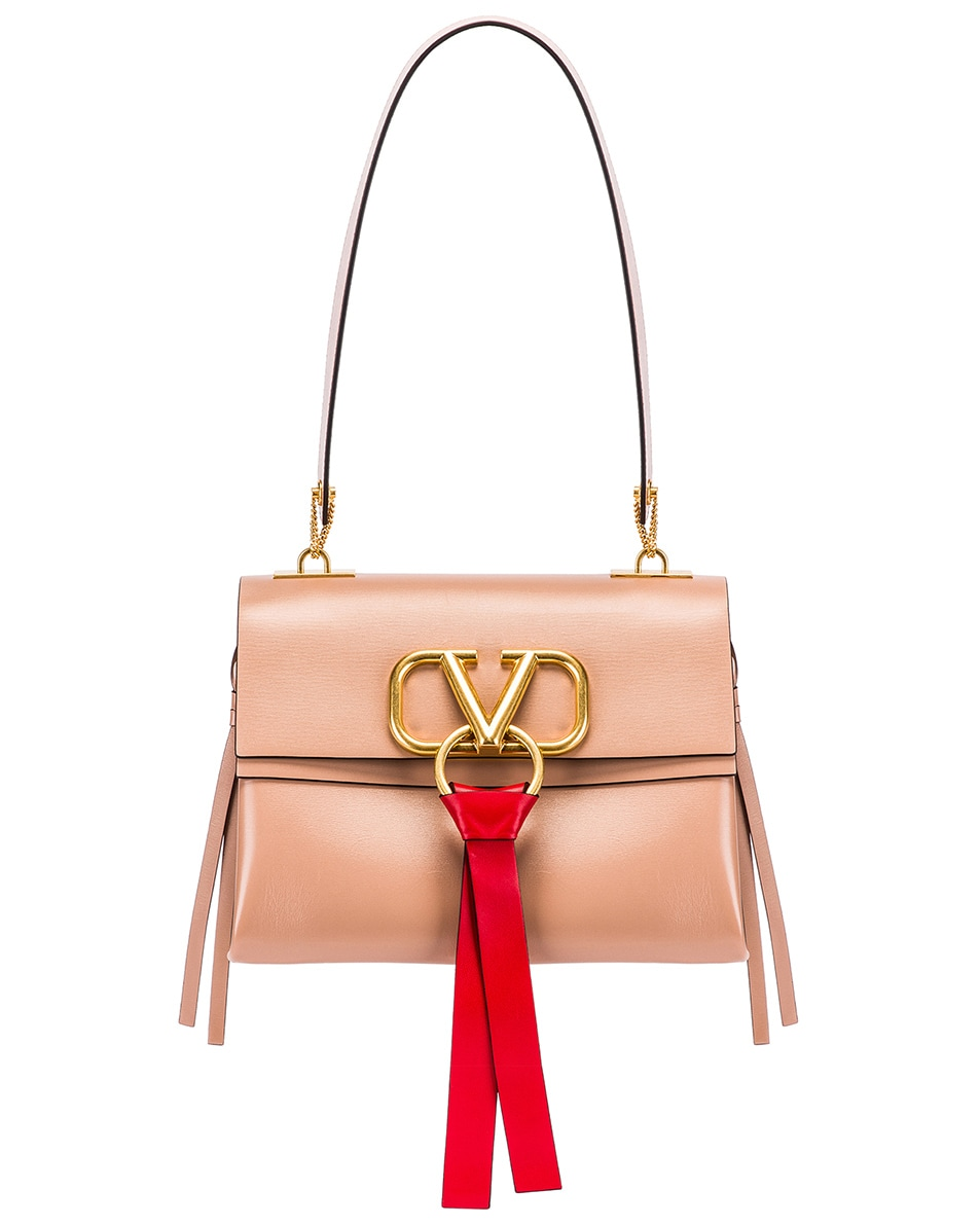 Image 1 of Valentino VLogo Ribbon Shoulder Bag in Rose & Red
