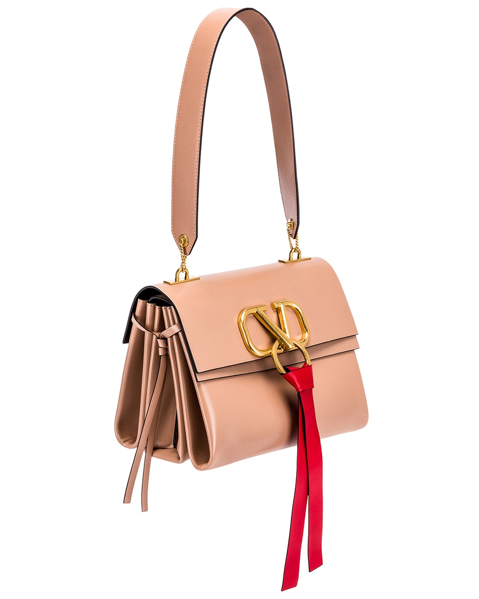 Image 4 of Valentino VLogo Ribbon Shoulder Bag in Rose & Red