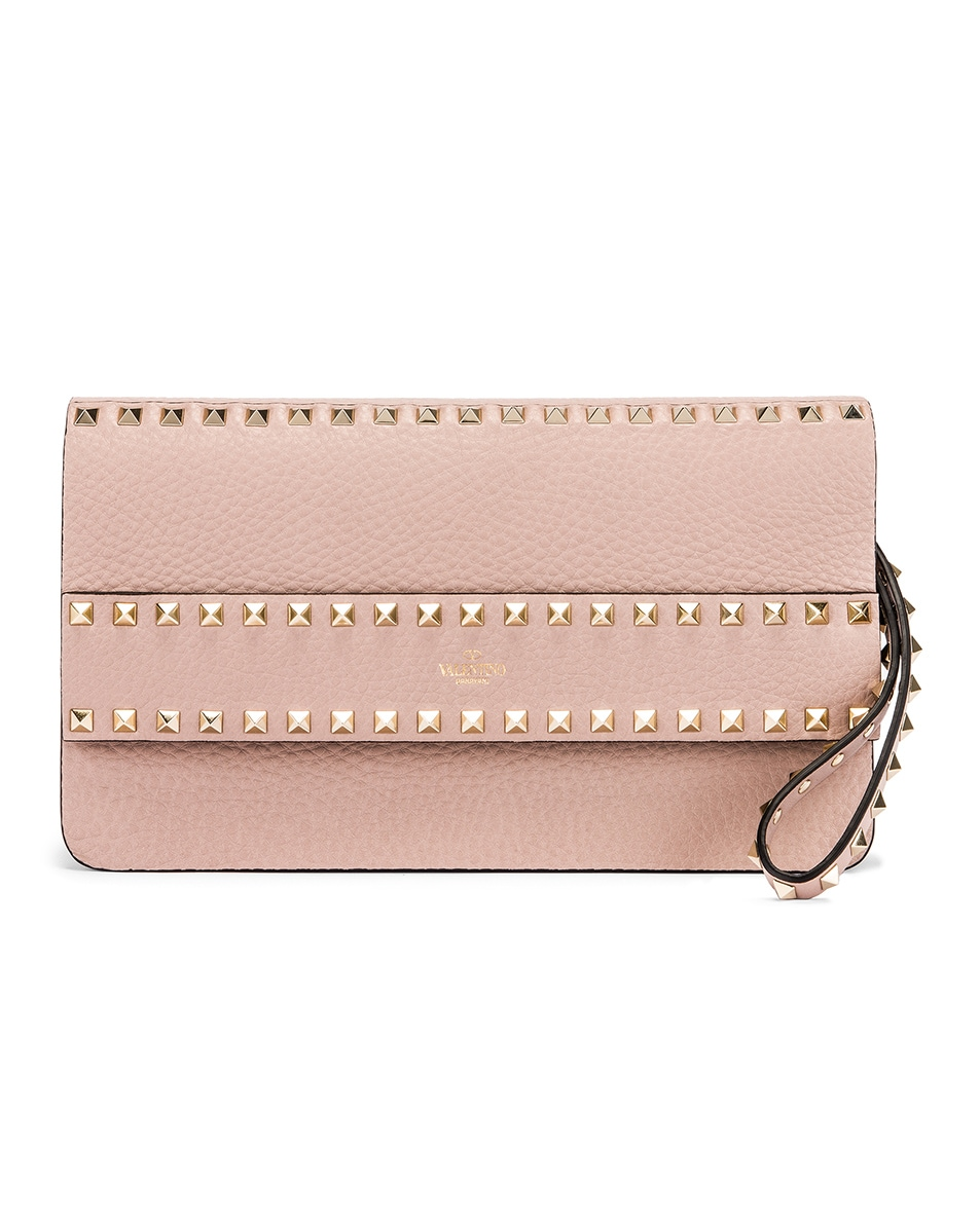 Image 1 of Valentino Rockstud Clutch in Poudre