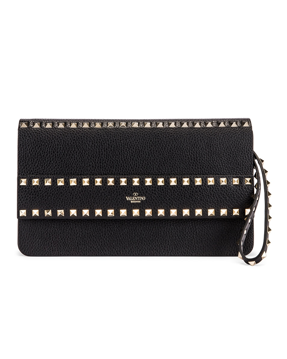 Image 1 of Valentino Rockstud Clutch in Black