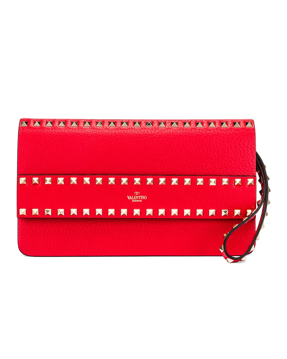 Image 1 of Valentino Rockstud Clutch in Red