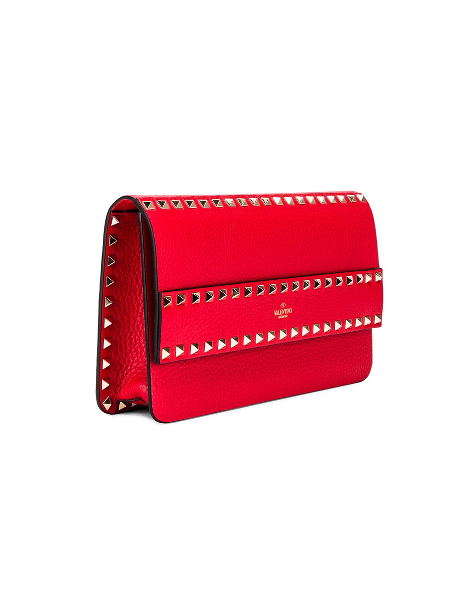 Image 4 of Valentino Rockstud Clutch in Red