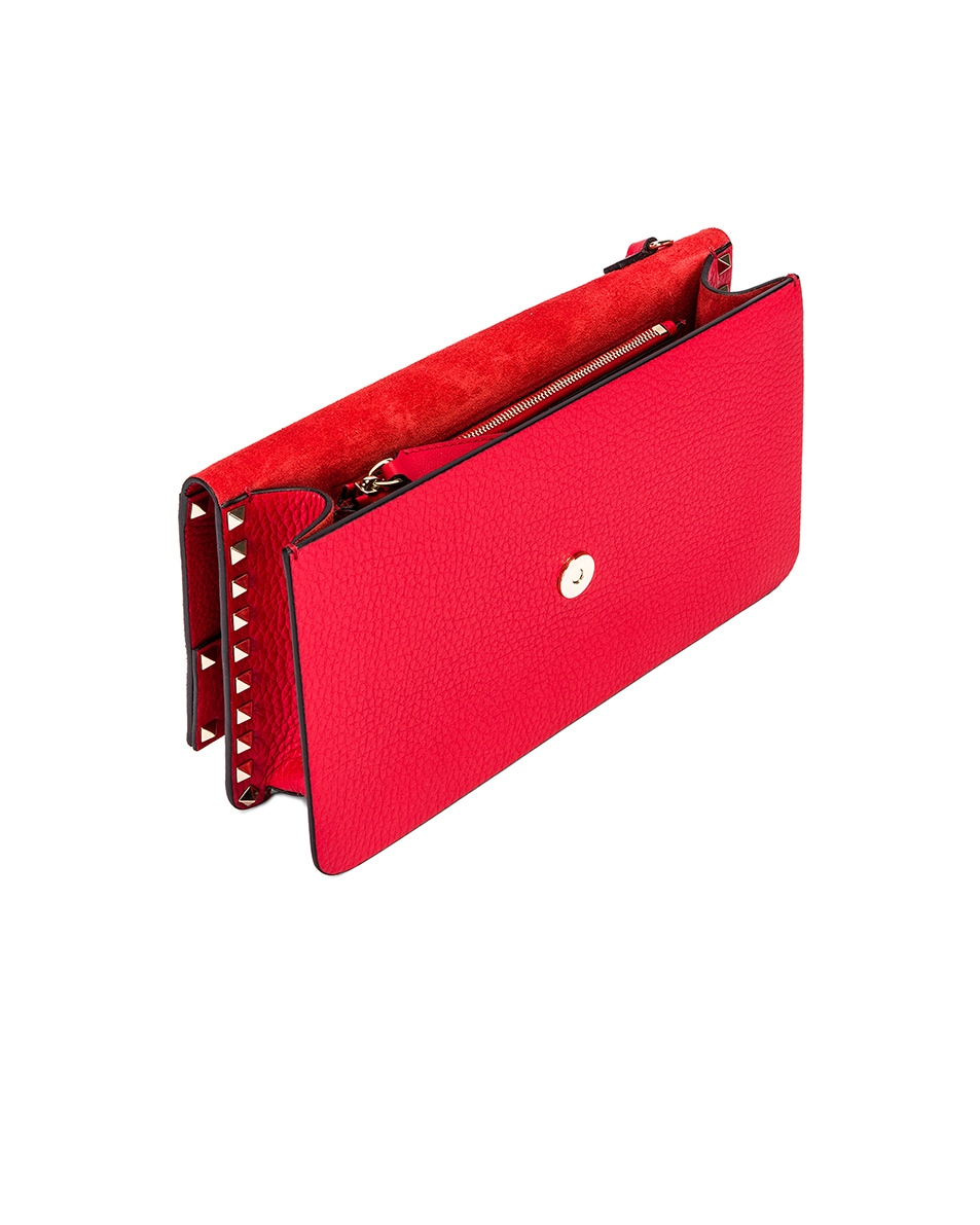 Image 5 of Valentino Rockstud Clutch in Red