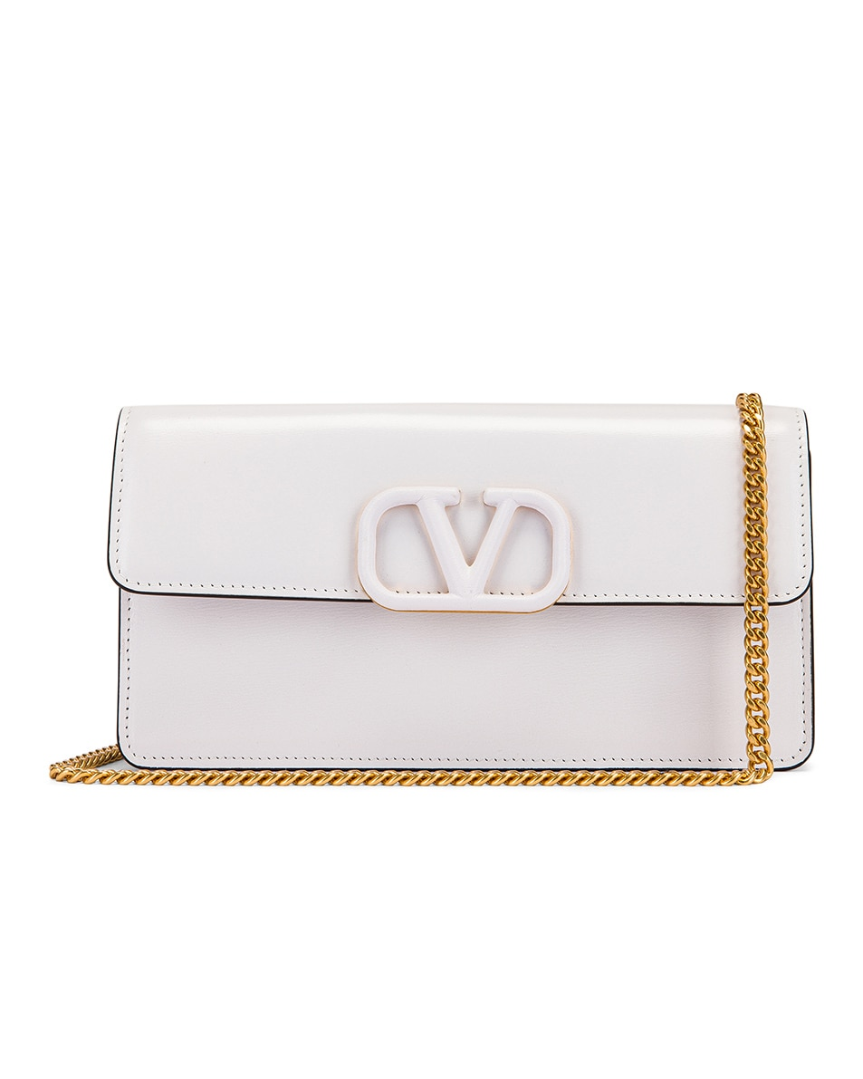 Image 1 of Valentino VSling Wallet on Chain Bag in Bianco Ottico