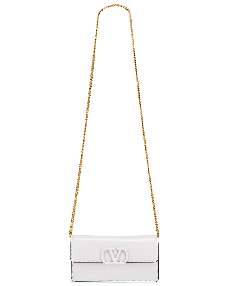 Image 6 of Valentino VSling Wallet on Chain Bag in Bianco Ottico