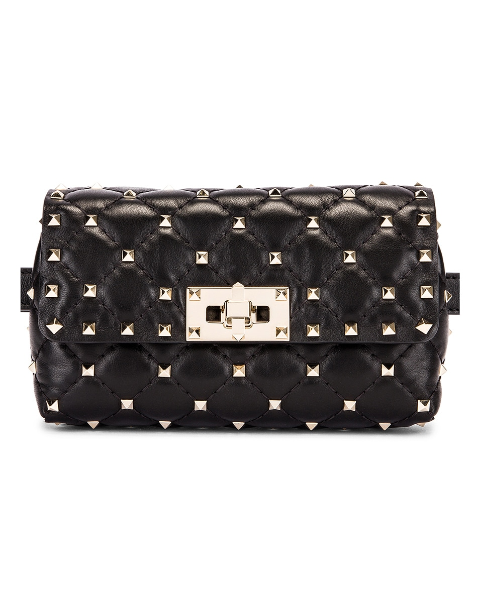 Image 1 of Valentino Rockstud Spike Belt Bag in Black