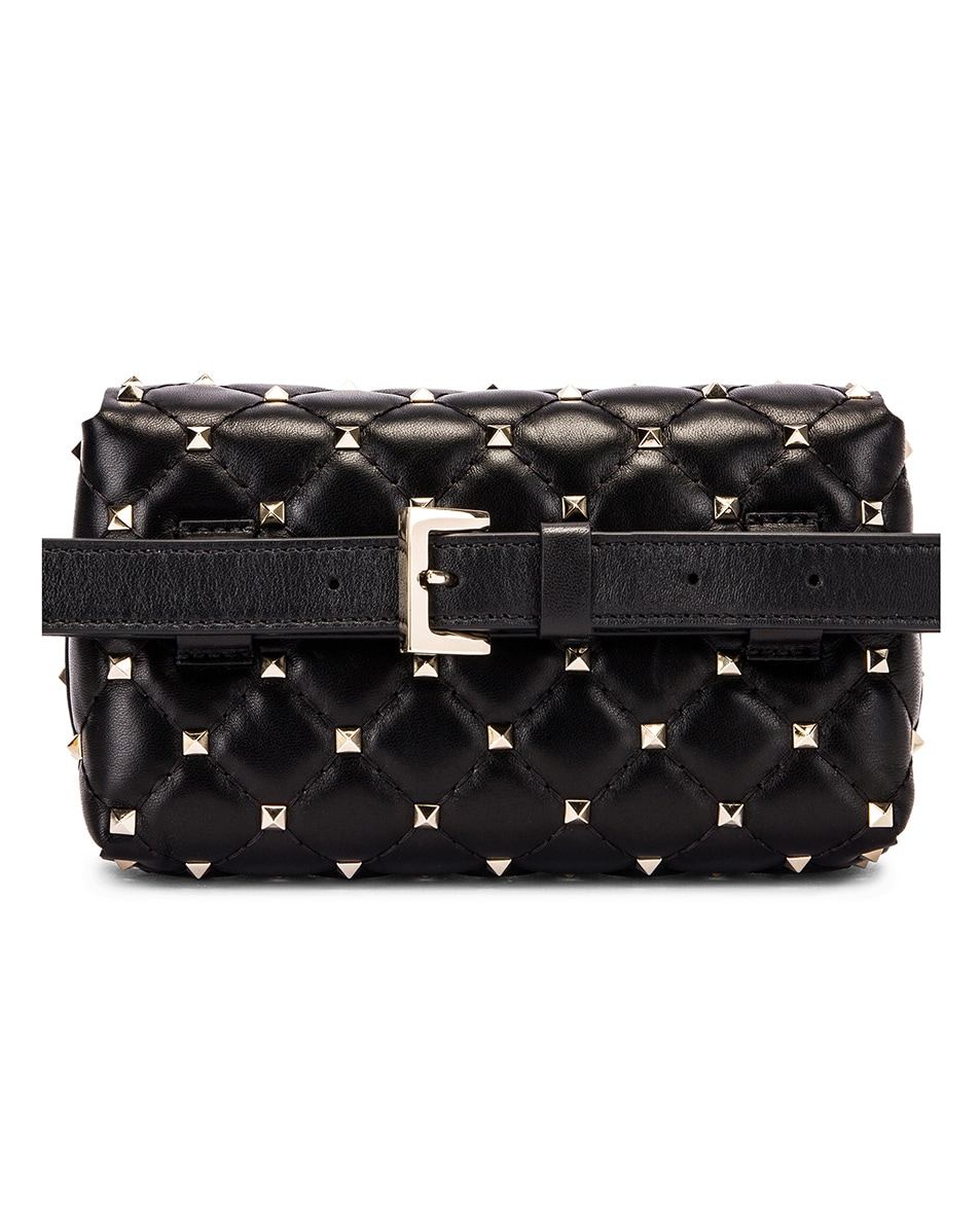 Image 2 of Valentino Rockstud Spike Belt Bag in Black