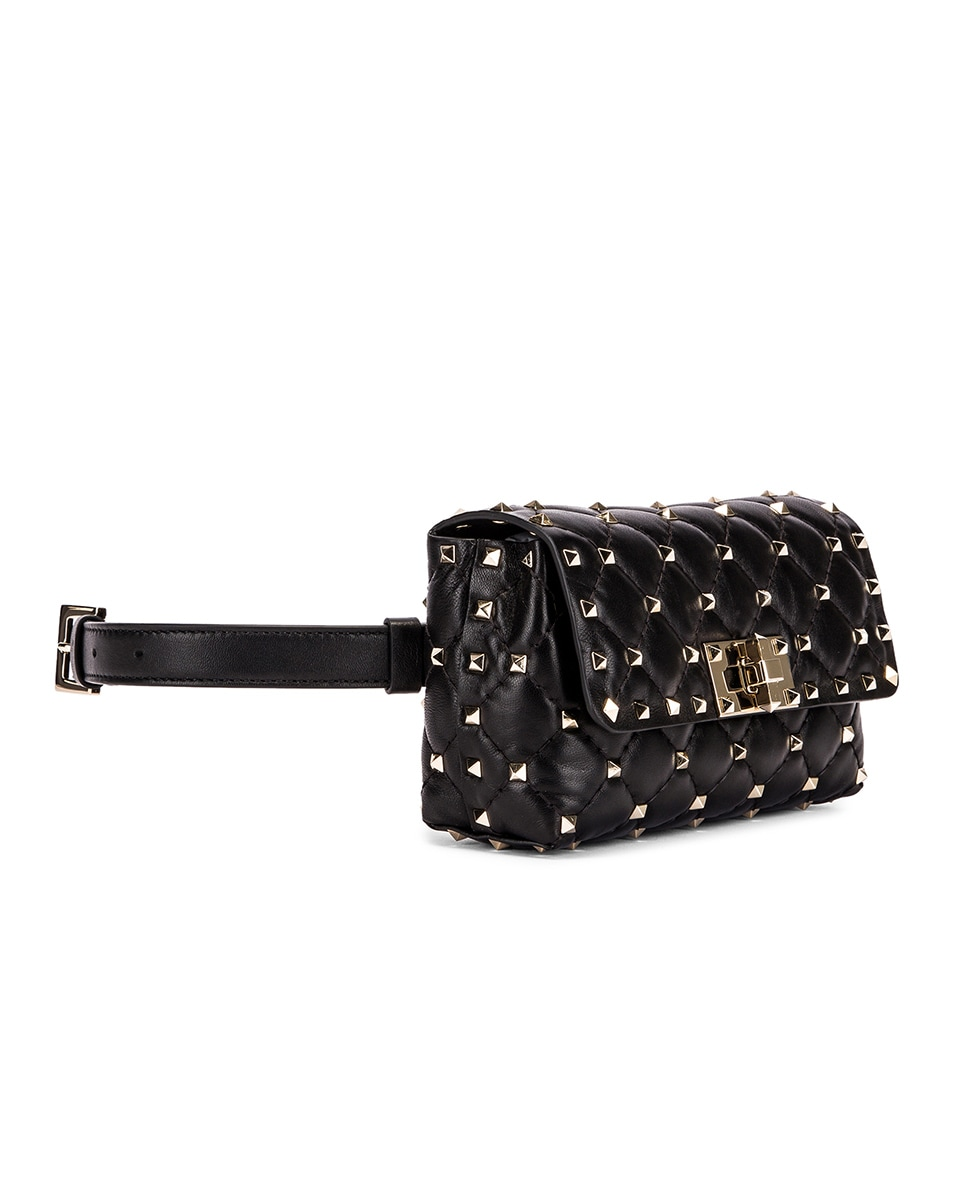 Image 3 of Valentino Rockstud Spike Belt Bag in Black