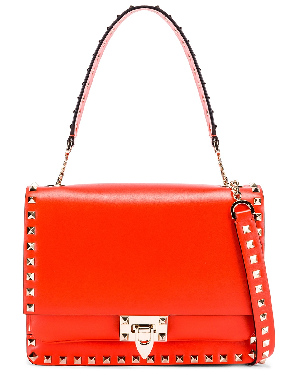Image 1 of Valentino Rockstud Shoulder Bag in Goldfish