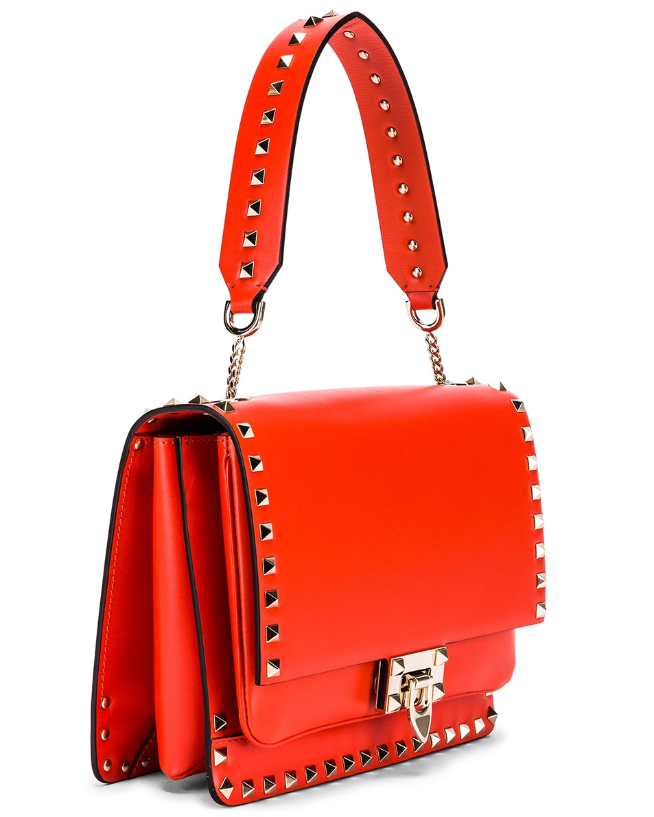 Image 4 of Valentino Rockstud Shoulder Bag in Goldfish