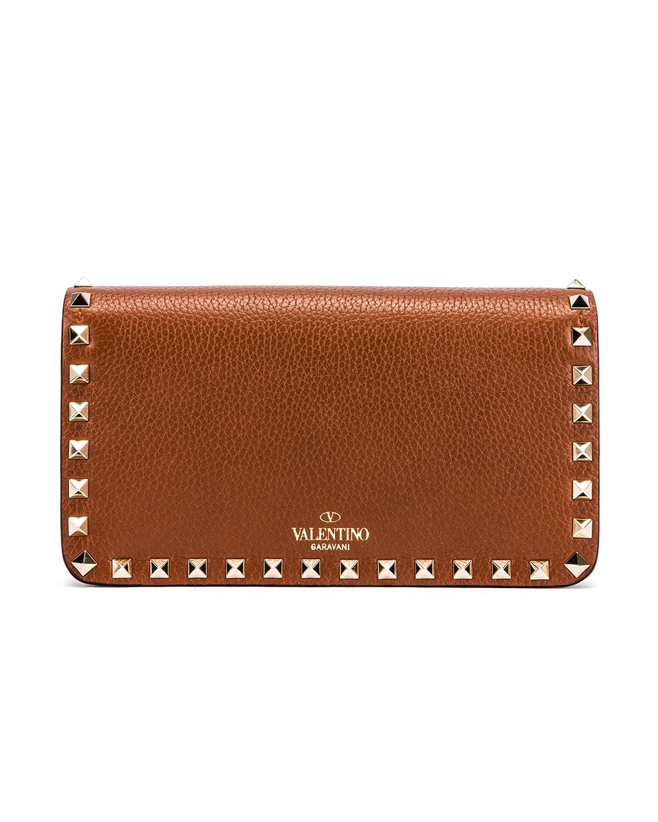 Image 3 of Valentino Rockstud Flap Crossbody Bag in Bright Cognac